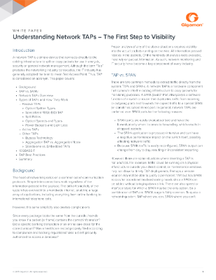 Network TAPS First Step to Visibility