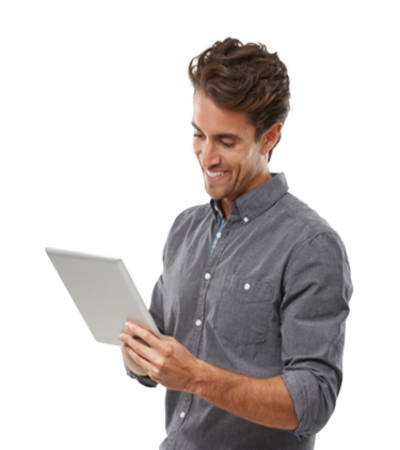 Man looking at a tablet