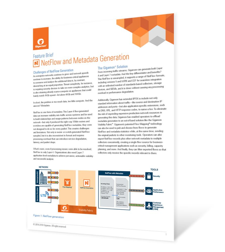 NetFlow and Metadata Generation Feature Brief
